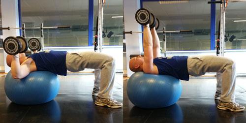 """Stabiliteit, Swiss ball dumbell press"""""""